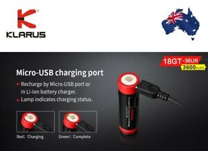 KLARUS 18650 3600mah USB Chargeable Protected Lithium Battery NO CHARGER NEEDED!