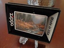 BIG BUCK AND TWO DOE DEER AT STREAM ZIPPO LIGHTER MINT IN BOX