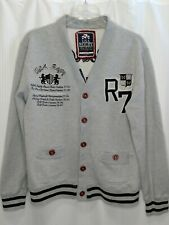 USA Rugby Gray Team Captain Kensington Royal Club Varsity Button Up Sweatshirt