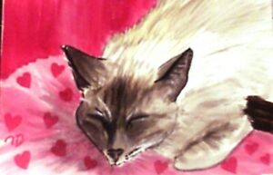 Siamese Cat VALENTINE'S DAY HEART PILLOW ACEO PRINT of Original WC painting