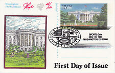PUGH HAND PAINTED FIRST DAY COVER FDC 1989 WHITE HOUSE POSTAL CARD 2 SIDED W/PHO