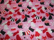 Scotty dog & OTHER dogs flannel fabric new print 1 yd. x 44 in. really cute