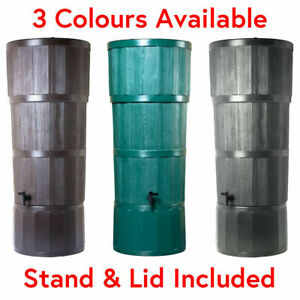 150L Polytank WOOD EFFECT Plastic WATER BUTT Rain Harvesting Green / Oak / Black