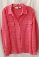 Liz Baker Sheer Coral / Peach Chiffon Button Up Blouse top Size 12 long sleeves