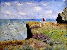 Stretched, Monet Cliff Walk, Pourville Repro Hand Painted Oil Painting 36x48in