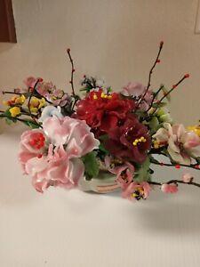 RARE Vintage Art Glass Jade Stone Glass Large Multi Color Flower Bonzai