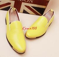 Mens Slip On patent Leather Casual Brogue Pointy Toe Dress Formal Shoes wedding