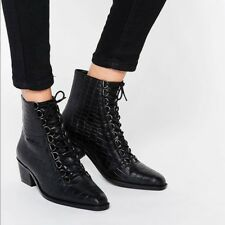 Asos ariana BLACK lace up CROC ANIMAL LEATHER ankle boots   UK 7  EUR 40 US 9