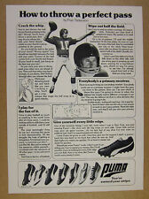 1977 Fran Tarkenton 'how to throw a perfect pass' Puma Shoes vintage print Ad