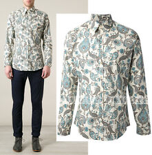 490 Mens Gucci Dress Shirt Blue Paisley Print Cotton Blend Sz 42 16 5