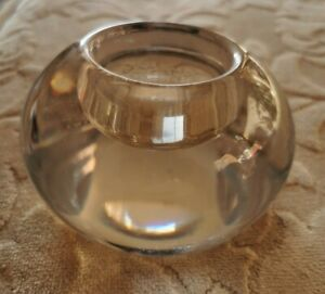 KENNETH TURNER LONDON HEAVY GLASS ROUND CANDLE HOLDER  EX CONDITION nt