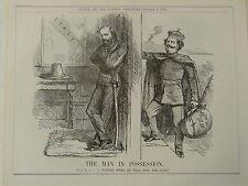 """7x10 """"Punch Cartoon 1860 el hombre en posesión de Víctor Emanuel, Italia"""