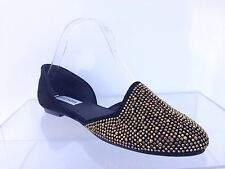Steve Madden Womens Vamp G Black Suede Rhinestone D'Orsay Flats Shoes Sz 7.5