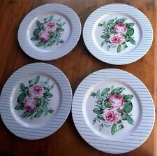 PRICE & SON AT HOME CHARLESTON 4 DINNER PLATES PINK ROSE BLUE LINES 10-3/4""