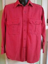 VINTAGE RED CABELA'S CHAMBRAY HUNTING FISHING SHIRT FLANNEL MEN M QUICK SHIPPER