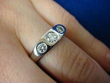 14K WHITE GOLD, 0.50 CT T.W. 3 GENUINE DIAMONDS, LADIES GYPSY HIGH END RING