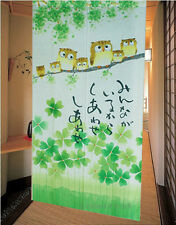 The Happiness Owl Family Japanese Noren Doorway Curtain Home Decorate 5023