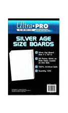 100 Pack Silver Age Size Comic Backing Boards White Ultra Pro Rigid Protection