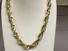 "14k SOLID Gold Diamond Cut ROPE Link Chain/Necklace 36"" 11MM 354 grams (080SDC)"