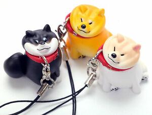 Chubby Shiba Inu Puppy White Blk Brn Dog Figure Strap 1pc Random Japan Gashapon