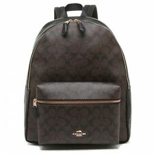 COACH Charles Signature Backpack Large Campus Brown Black Book Bag F58314 NWT