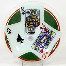 """Peggy Karr PLAYING CARDS - ACE KING QUEEN 8.5"""" Round 14oz Bowl Fused Glass Mint"""