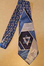 Star of David Tie Blue Jewish Blue Mens 100% Polyester Necktie Free Shipping