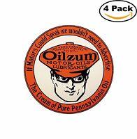 Oilzum Motor Oil Vintage Decal Diecut Sticker 4 Stickers