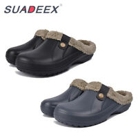 Mens Winter House Slippers Soft Plush Lined Outdoor Clog Fuzzy Warm Cozy Shoes