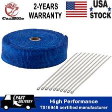 "Blue 2"" x 50FT Manifold Header Exhaust Thermal Heat Tape Wrap W/ 10pcs Ties Kit"