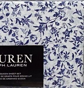 Ralph Lauren QUEEN Sheet Set Blue & White Floral Print Cotton Deep Fit NEW