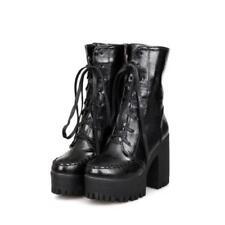 Punk Womens Lace Up Ankle Boots Chunky Heel Platform Gotic Shoes Plus Sz JC Chic