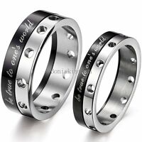 "Black & Silver Two Tone "" be true to one's world "" Stainless Steel Promise Ring"