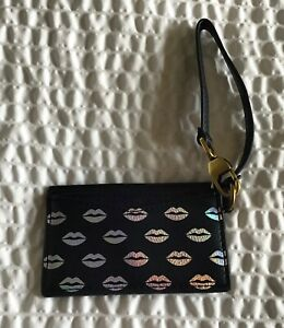 Fossil Card Case Wristlet- midnight navy  silver lips- wristlet strap