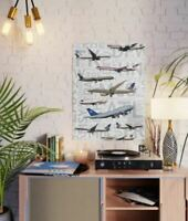 "United Airlines Aircraft with Airport Codes - 18"" x 24"" Poster"