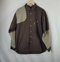 Mens Columbia Shirt Medium Size M Brown Long Sleeved Button Up Hunting Shooting