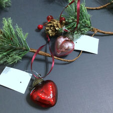 Mini Heart Ornaments 2 Mercury Glass Red Pink Christmas Paper Source