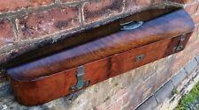 Antique 19th century walnut vaneered violin case wi copper fittings