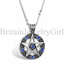 "Hollow Pentagram Blue Rhinestone Pendant Mens Stainless Steel 22"" Chain Necklace"