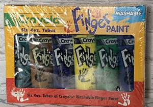 Vtg Crayola Washable Finger Paint (6) 4oz Tubes 1994