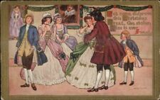 Christmas - Colonial Costumes Dance - Marion Miller c1910 Postcard