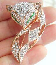Lovely Animal Clear Rhinestone Crystal Fox Brooch Pin Pendant EE06347C1