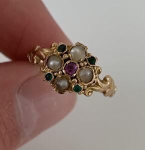 15ct Gold Rare Old Cut Ruby, Garnet & Seed Pearl Georgian Cluster Ring, 18th Cen