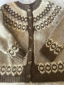 Ladies Hand Knit Traditional Icelandic Loppi Cardigan. Pure Wool. Size 10/12