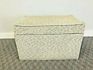 Vintage VINYL STORAGE TRUNK bench stool floor ottoman box mid century modern 50s