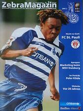 Programm 2000/01 MSV Duisburg - FC St. Pauli