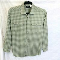 L.L.Bean Traveler Men's Shirt L Green Plaid No Wrinkle Button Long Sleeve #R