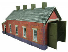 Metcalfe Red Brick Single Track Engine Shed OO Gauge Card Kit PO331