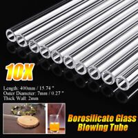10Pcs 400mm OD 7mm 2mm Thick Wall Borosilicate Glass Blowing Tube Biology / O