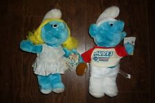 SMURFS LOT OF 2 PLUSH SMURFETTE AND FOOTBALL SMURFS NEW WITH TAGS VINTAGE 1983